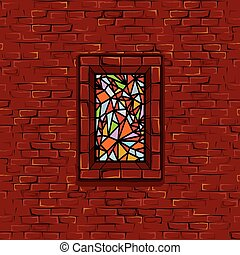 Stonewall Stained Glass Window Seamless Vector - Medieval...