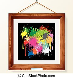 Funky Artwork on in Wooden Picture Frame