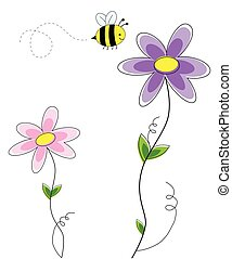 Cute Flowers with Bee