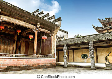 China ancient stage - Inside the ancient stage, the...