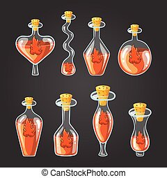 Set with different bottles of flame potion, magic elixir....
