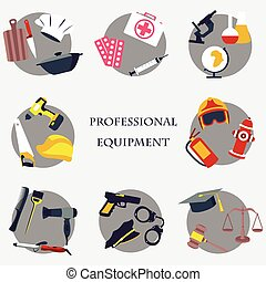 Vector set collection icons of color professions equipment vector illustration
