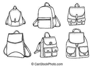 Set of Sketch Doodle Backpacks. - Hand drawn Vector Set of...