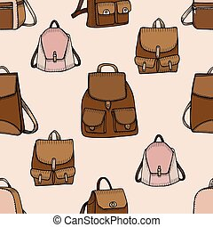 Seamless hand drawn Backpack background. Sketch style....