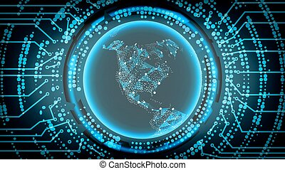 Future Technology Cyber Concept Background. North America. Vector Illustration