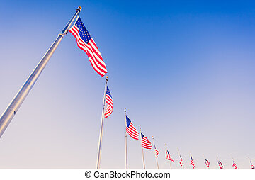 American flags on flagpoles on blue sky background.