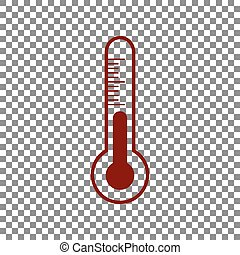 Meteo diagnostic technology thermometer sign. Maroon icon on...