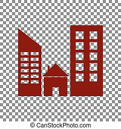 Real estate sign. Maroon icon on transparent background.