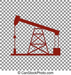Oil drilling rig sign. Maroon icon on transparent...