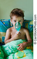 close up of child making inhalation