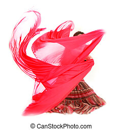 young girl dancing with red scarf over white