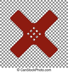 Aid sticker sign. Maroon icon on transparent background.