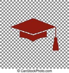 Mortar Board or Graduation Cap, Education symbol. Maroon...