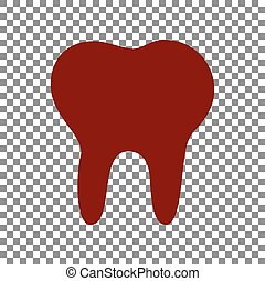 Tooth sign illustration. Maroon icon on transparent...