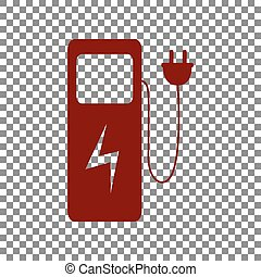 Electric car charging station sign. Maroon icon on...