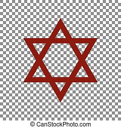 Shield Magen David Star. Symbol of Israel. Maroon icon on...
