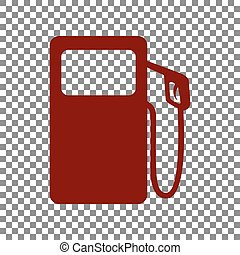 Gas pump sign. Maroon icon on transparent background.