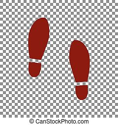 Imprint soles shoes sign. Maroon icon on transparent...