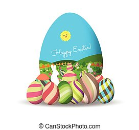 Spring Easter background with egg and bunny