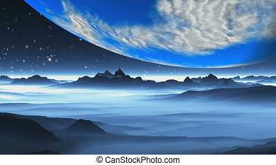 Planet Earth-like, Over The Alien Landscape - The giant blue...