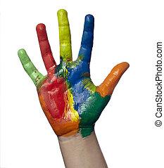 藝術, 顏色, 手, 繪, 工藝, 孩子