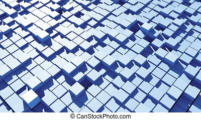 Abstract surface of moving cubes. Seamless loop