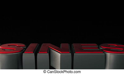 Metal 3d Business text with reflection and light