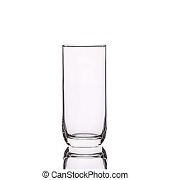 Empty clear drinking glass. Studio shot isolated on white...