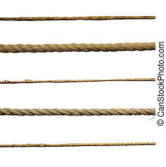 ropes - collection of various ropes on white background....