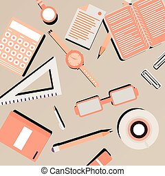 Colored office accessories abstract