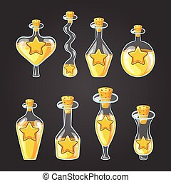 Set with different bottles of star potion, magic elixir....