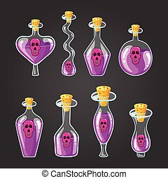 Set with different bottles of potion with skull, magic...