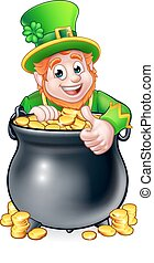 Cartoon St Patricks Day Leprechaun and Pot of Gold - Cartoon...