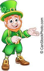 Cartoon St Patricks Day Leprechaun Pointing - Leprechaun St...