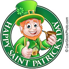 Saint Patricks Day Cartoon Leprechaun Sign - Cartoon...