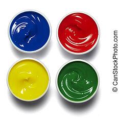 artist color palette paint - close up of colors art supplies...