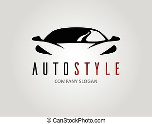 Auto style car logo design with concept sports vehicle...