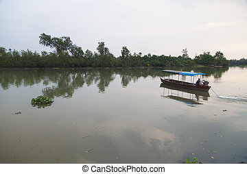 The boat on the river