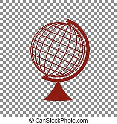Earth Globe sign. Maroon icon on transparent background.
