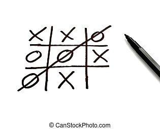 tic tac toe leisure game mental scribble - close up of tic...