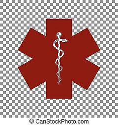 Medical symbol of the Emergency or Star of Life. Maroon icon...