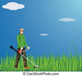 Gardner mowing grass vector design