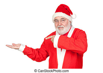 Santa Claus pointing to the outstretched palm of your hand...