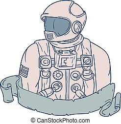 Astronaut Bust Ribbon Drawing - Drawing sketch style...