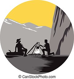 Campers Sitting Cooking Campfire Circle Woodcut - Two people...