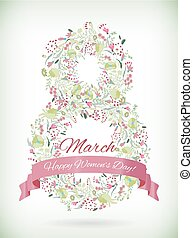 Greeting decorative card with flowers print and number 8 for Women's Day