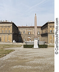 view of palazzo pitti in florence, italy