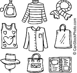 Doodle of clothes style and bag for women vector...