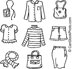 Clothes for women of doodles collection vector art