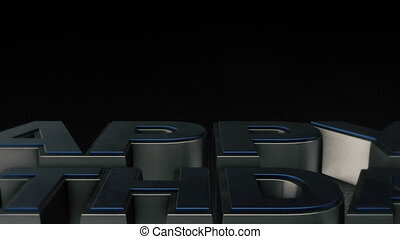 Metal 3D text Happy Birthday with reflection and light
